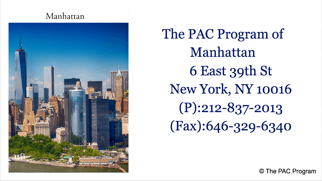 The Pac Program outpatient treatment of Manhattan NYC